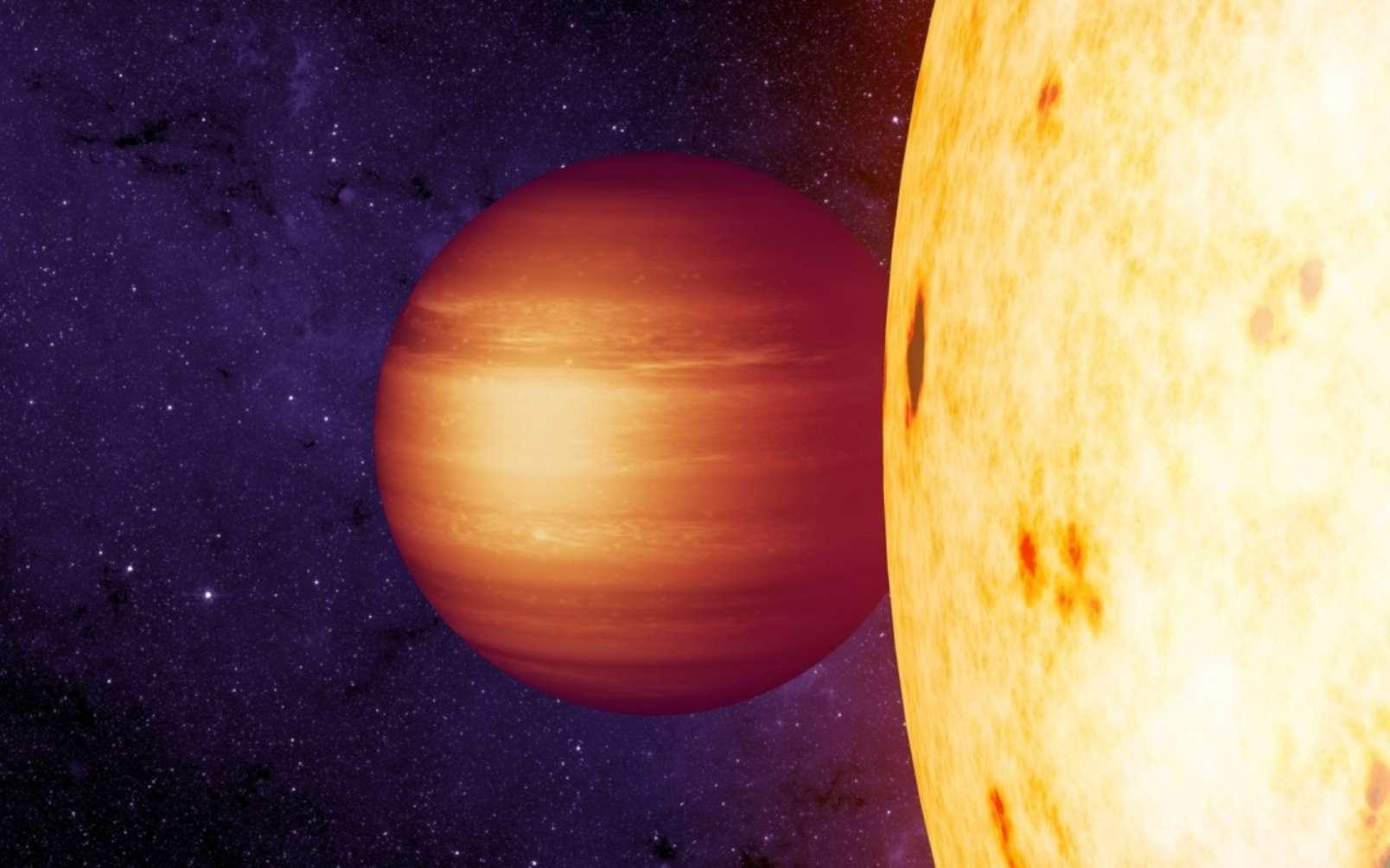 Une vue d'artiste de l'exoplanète Corot-2b, une Jupiter chaude. © Nasa, JPL-Caltech, T. Pyle, IPAC
