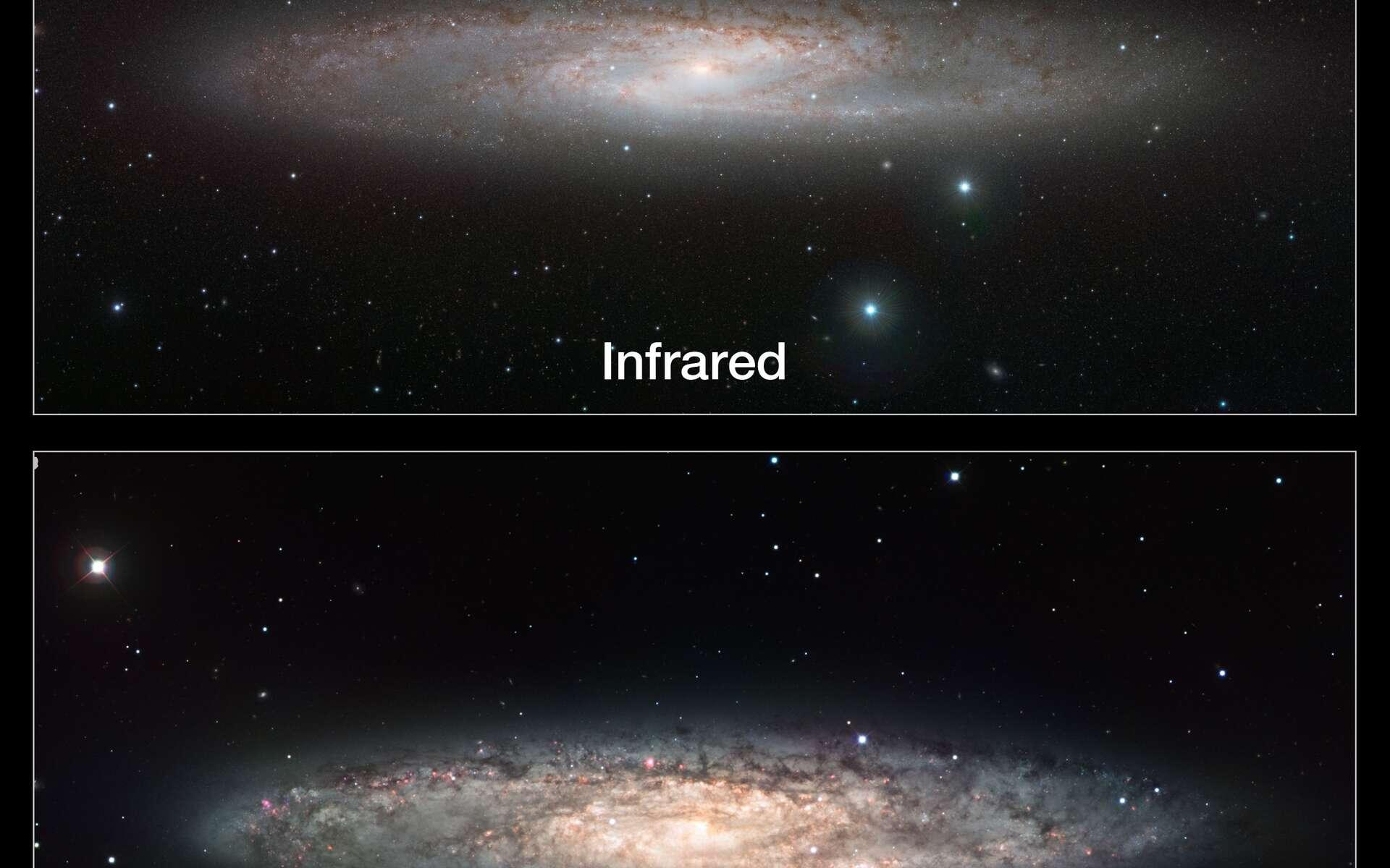 Alors que les images réalisées dans le visible montrent les nombreux nuages de poussière de la galaxie NGC 253, le cliché réalisé en infrarouge par Vista permet de révéler les astres froids à l'intérieur et autour de la galaxie. Crédit Eso