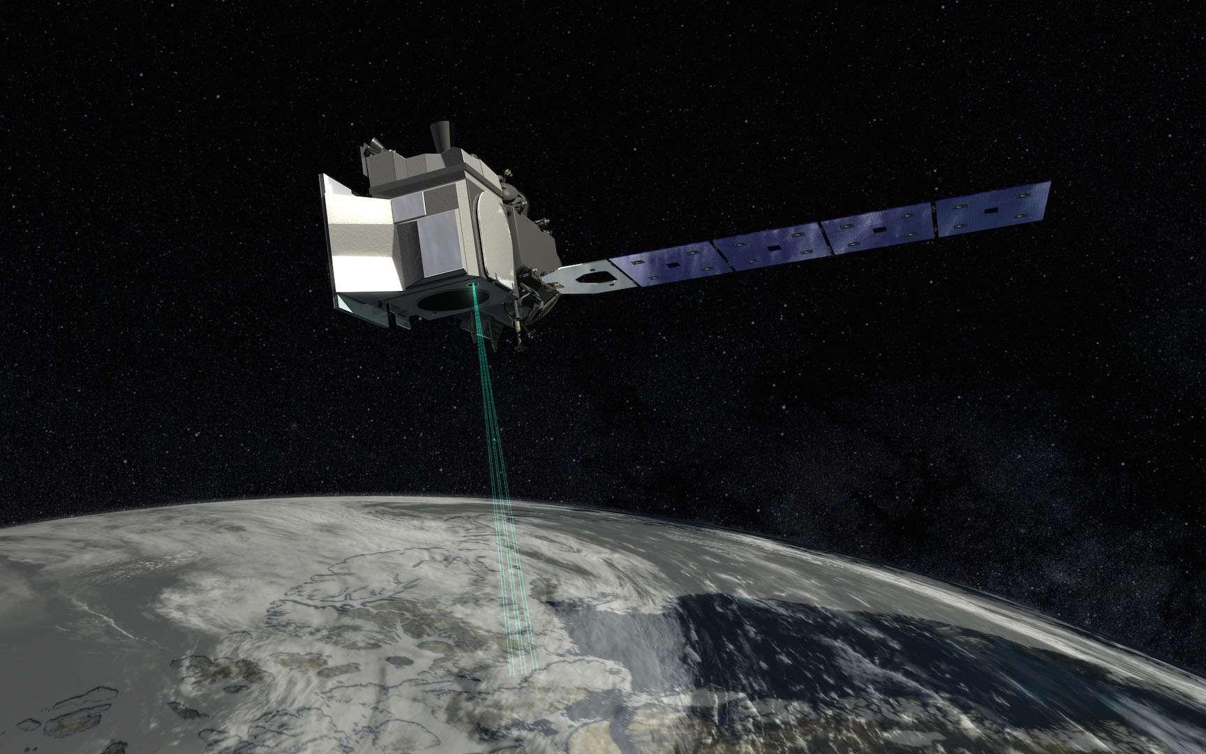 Illustration de IceSat-2, le nouveau satellite de la Nasa pour surveiller la fonte des glaces dans la cryosphère. © Nasa