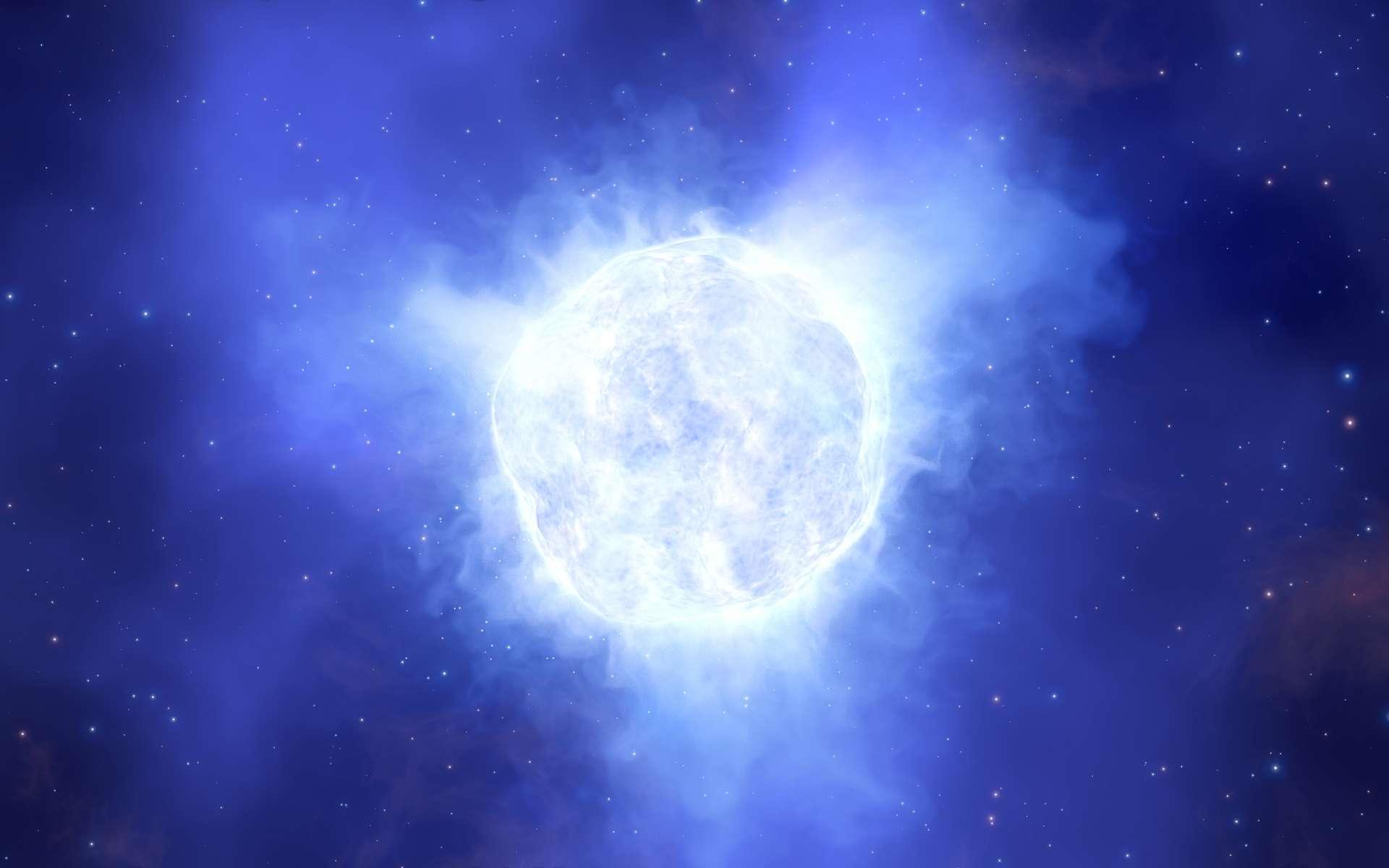 Sur cette illustration figure l'étoile variable bleue lumineuse de la galaxie naine de Kinman telle qu'elle pouvait être avant qu'elle ne disparaisse mystérieusement. © ESO, L. Calçada