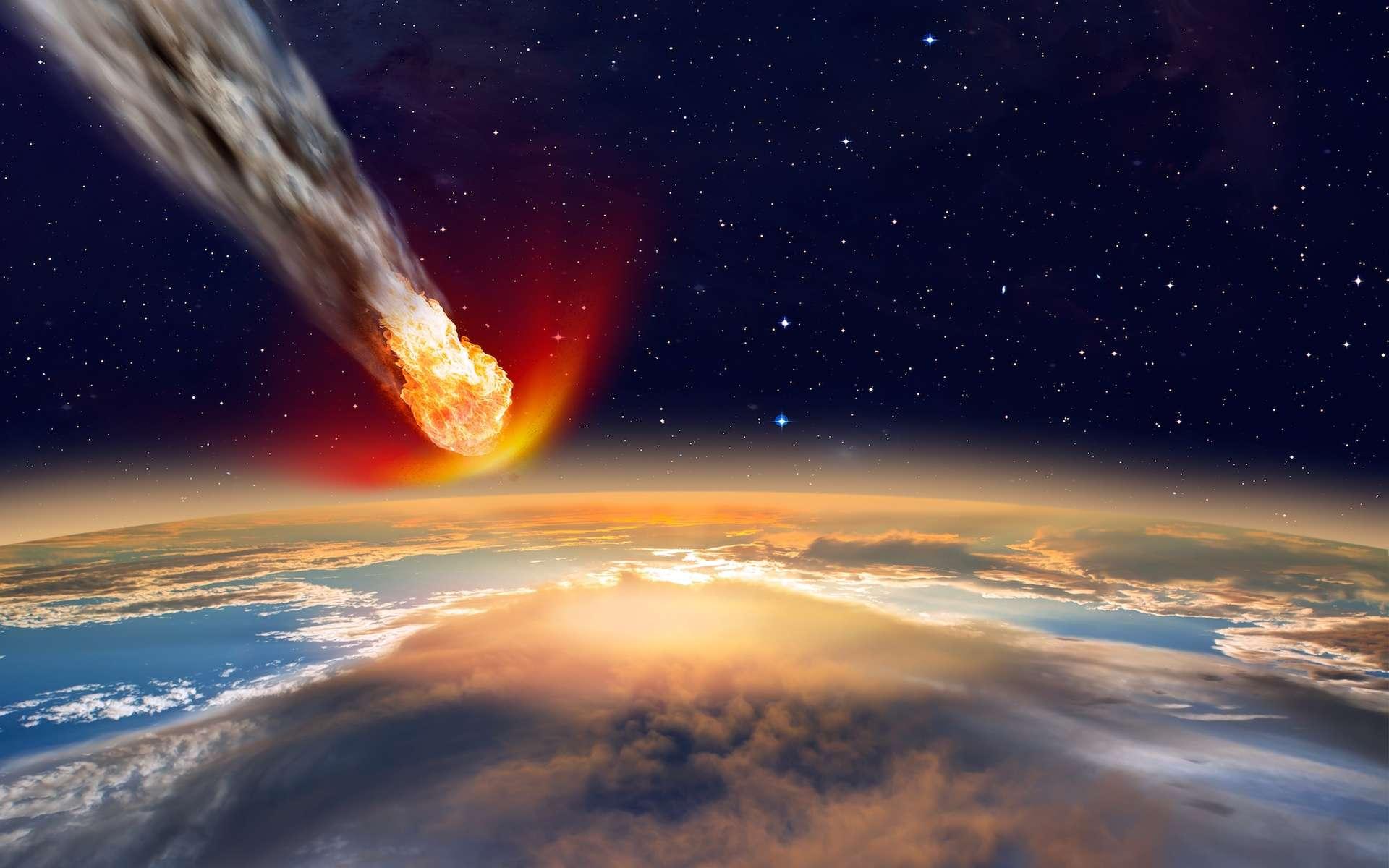 Image d'artiste d'un astéroïde fonçant sur la Terre. Les sphérules retrouvées dans les sédiments d'un ancien fond marin, entre deux couches volcaniques, au nord-ouest de l'Australie, dans la région de Marble Bar, ont été créées par l'impact d'un corps de 20 à 30 km de diamètre, il y a 3,46 milliards d'années. © muratart, Shutterstock
