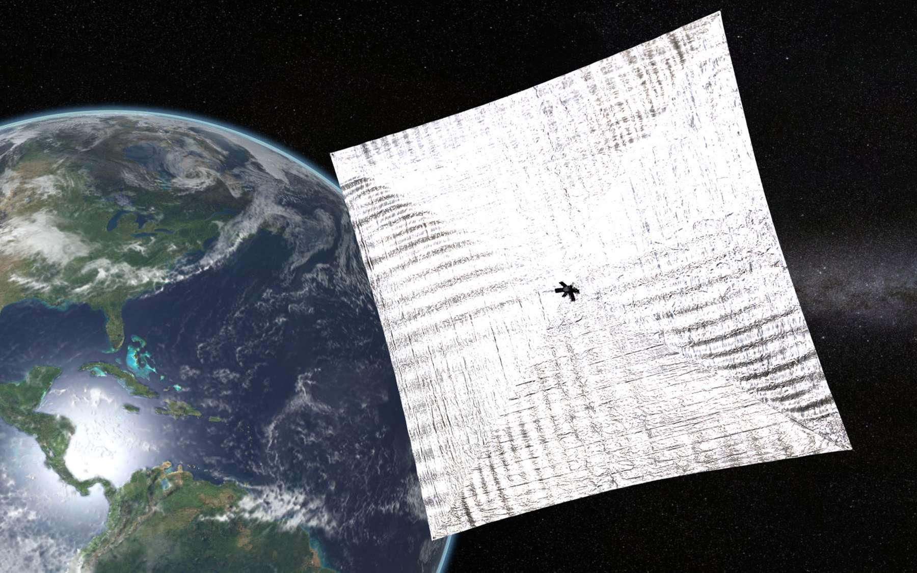 La première voile solaire LightSail est composée de quatre couches en Mylar. © Planetary Society