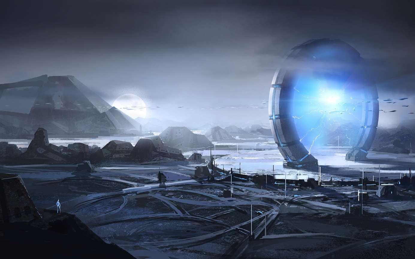 Les portails distrans permettent de voyager en un instant d'un bout à l'autre de la Galaxie. Les mondes isolés, dépourvus de portails, ne sont accessibles qu'en vaisseaux et prennent des mois de voyage. © liuzishan, Fotolia