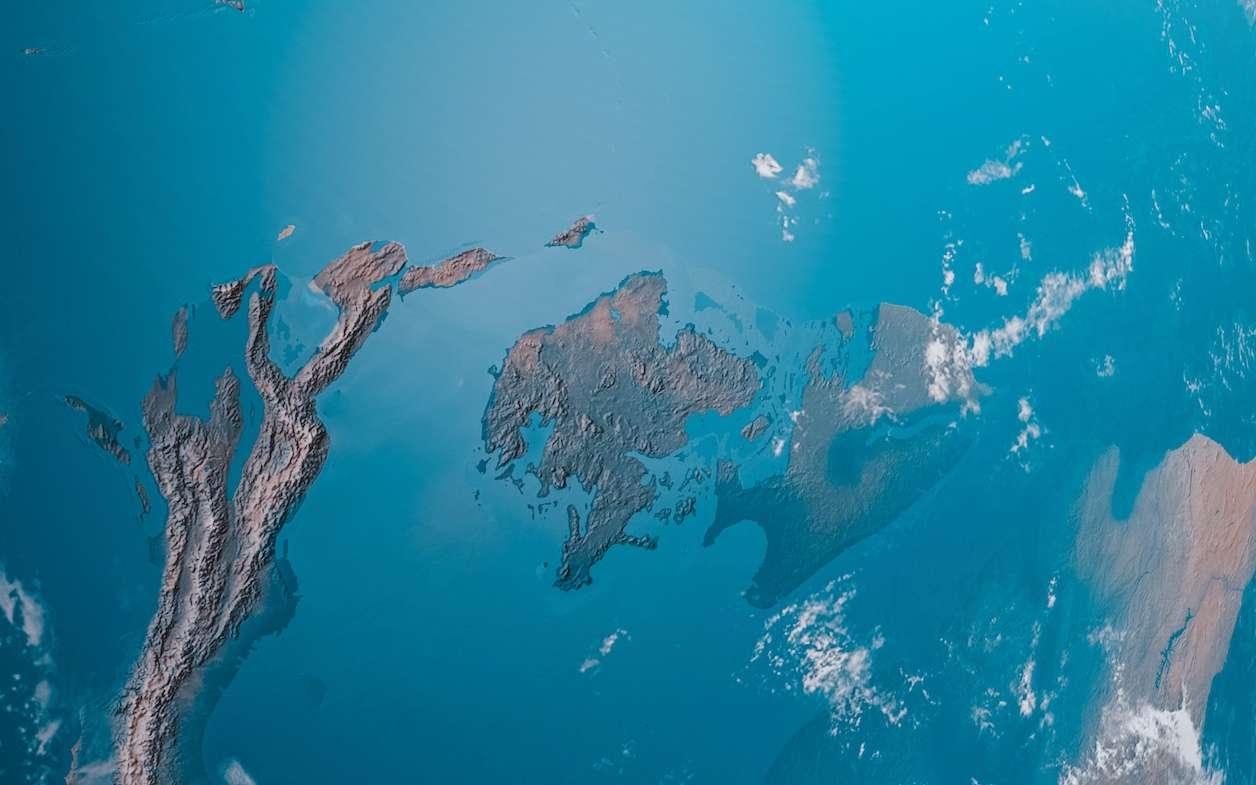 Illustration de l'océan vu de l'espace. © OSORIOartist, Adobe Stock