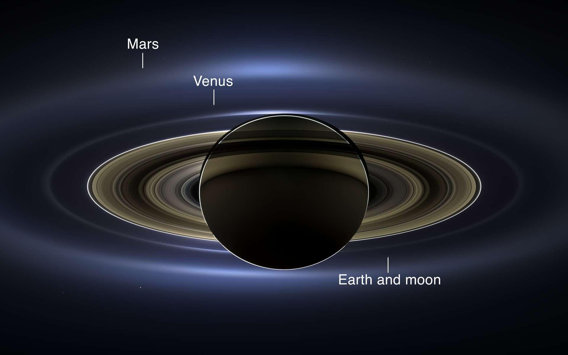 Une version sans renforcement des contrastes de la composition d'images saisies par la sonde Cassini au moment où elle est passée dans l'ombre de Saturne. Trois planètes telluriques sont repérables, dont la Terre (Earth). © Nasa, JPL-Caltech, SSI