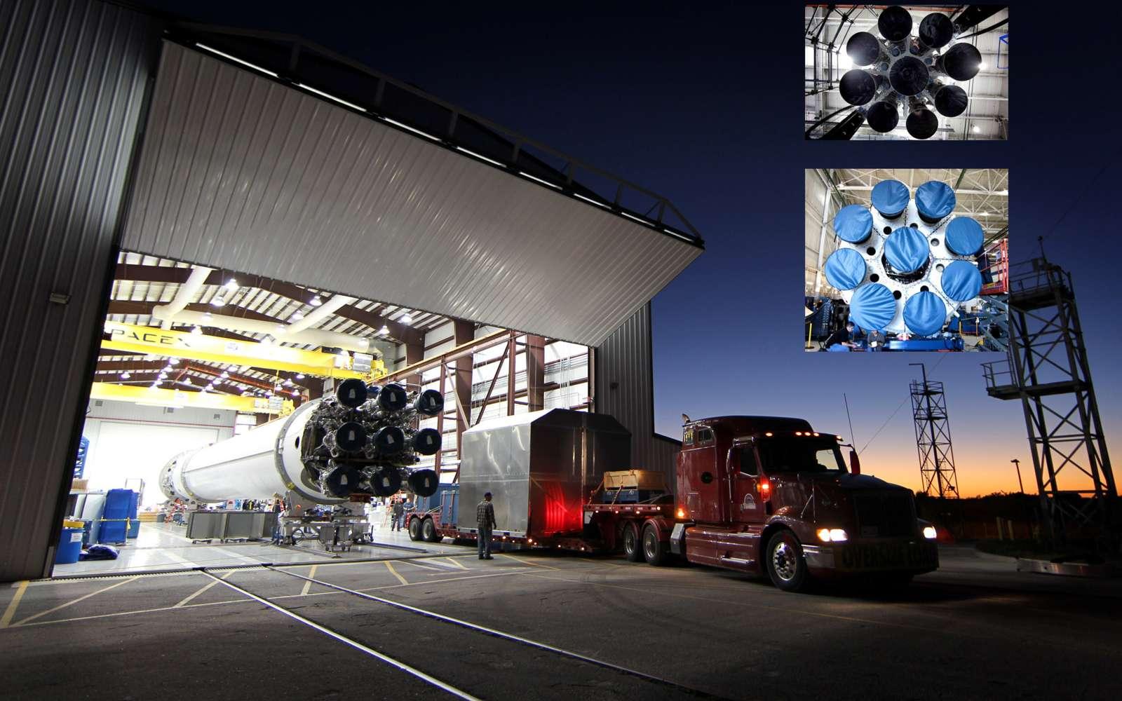 Retiré du service, le lanceur Falcon 9 de base sera remplacé par une version améliorée aux performances légèrement supérieures. Son premier vol d'essai est prévu le 5 septembre depuis le nouveau pas de tir de SpaceX, à la base de l'US Air Force de Vandenberg. © SpaceX