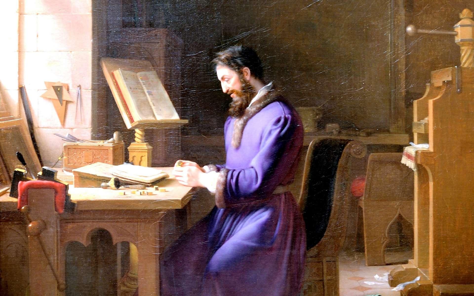Tableau « Gutenberg inventant l'imprimerie » par Jean-Antoine Laurent en 1831 ; musée des Beaux-Arts de Lyon, musée d'art de Grenoble. © Wikimedia Commons, domaine public