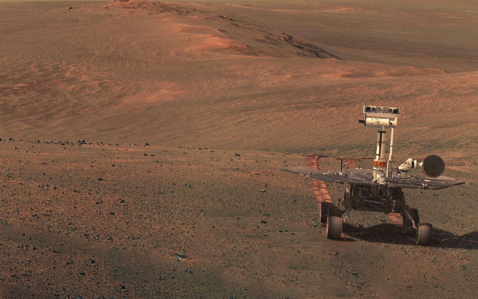 Opportunity en 2016 lors du Sol 3754. Le modèle du rover a été superposé à une véritable photo qu'il a prise. © Nasa, JPL-Caltech, Cornell, ASU, James Sorenson, Model : Nasa, JPL-Caltech, Christian A. Lopez, Image process & synthesis : Seán Doran