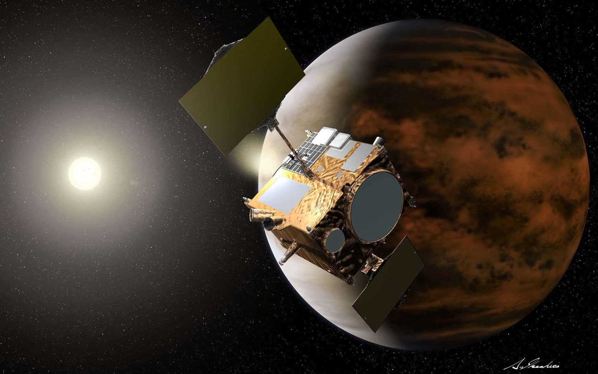Vue d'artiste de la sonde Planet-C, ou Venus Climate Orbiter, alias Akatsuki. Lancée en mai 2010, elle s'est finalement insérée en orbite autour de Vénus le 7 décembre 2015 après une malencontreuse errance de 5 ans autour du Soleil. © Jaxa