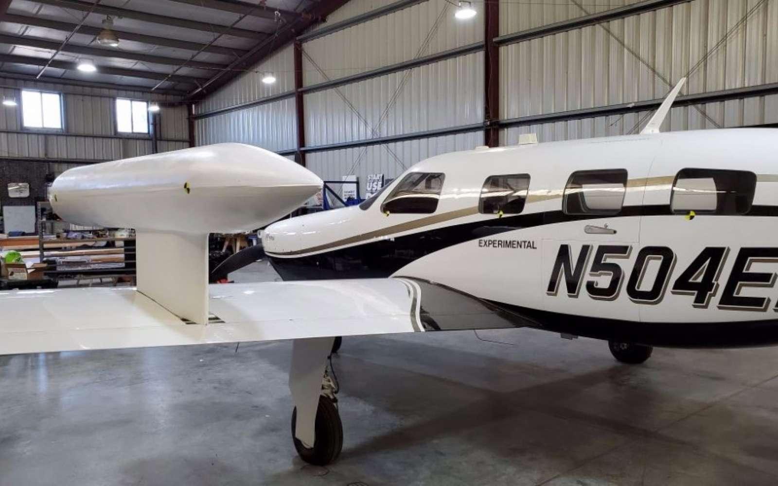 Le réservoir d'hydrogène liquide est placé sur l'aile de l'avion expérimental. © ZeroAvia