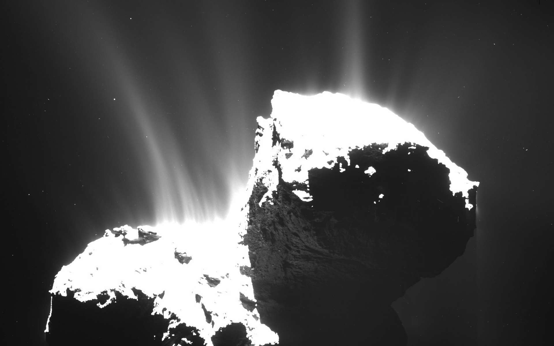Tchouri a été photographiée par la caméra grand-angle Osiris de Rosetta, le 22 novembre 2014, à 30 km de la surface. La comète dégage une multitude de jets de gaz et de poussières. La plupart sont situés dans la région du « cou », entre les deux lobes de la comète, et témoignent de son activité. © Esa, Rosetta, MPS, Osiris, MPS, UPD, LAM, IAA, SSO, INTA, UPM, DASP, IDA