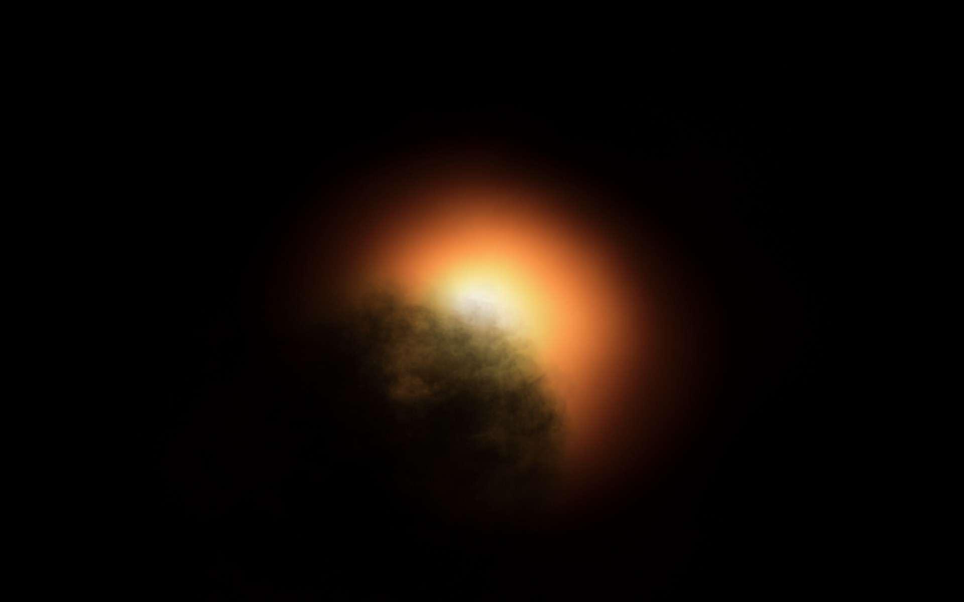 Bételgeuse aurait perdu de sa luminosité à cause d'immenses taches stellaires recouvrant jusqu'à 70 % de sa surface. Ici, le phénomène en vue d'artiste. © MPIA graphics department