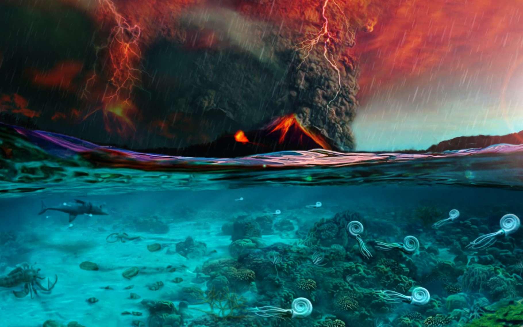 Selon une équipe internationale de chercheurs, des émissions de CO2 volcanique sont à l'origine de la plus importante extinction de masse que la Terre a connu, il y a 252 millions d'années. © PaleoFactory, Sapienza Université de Rome