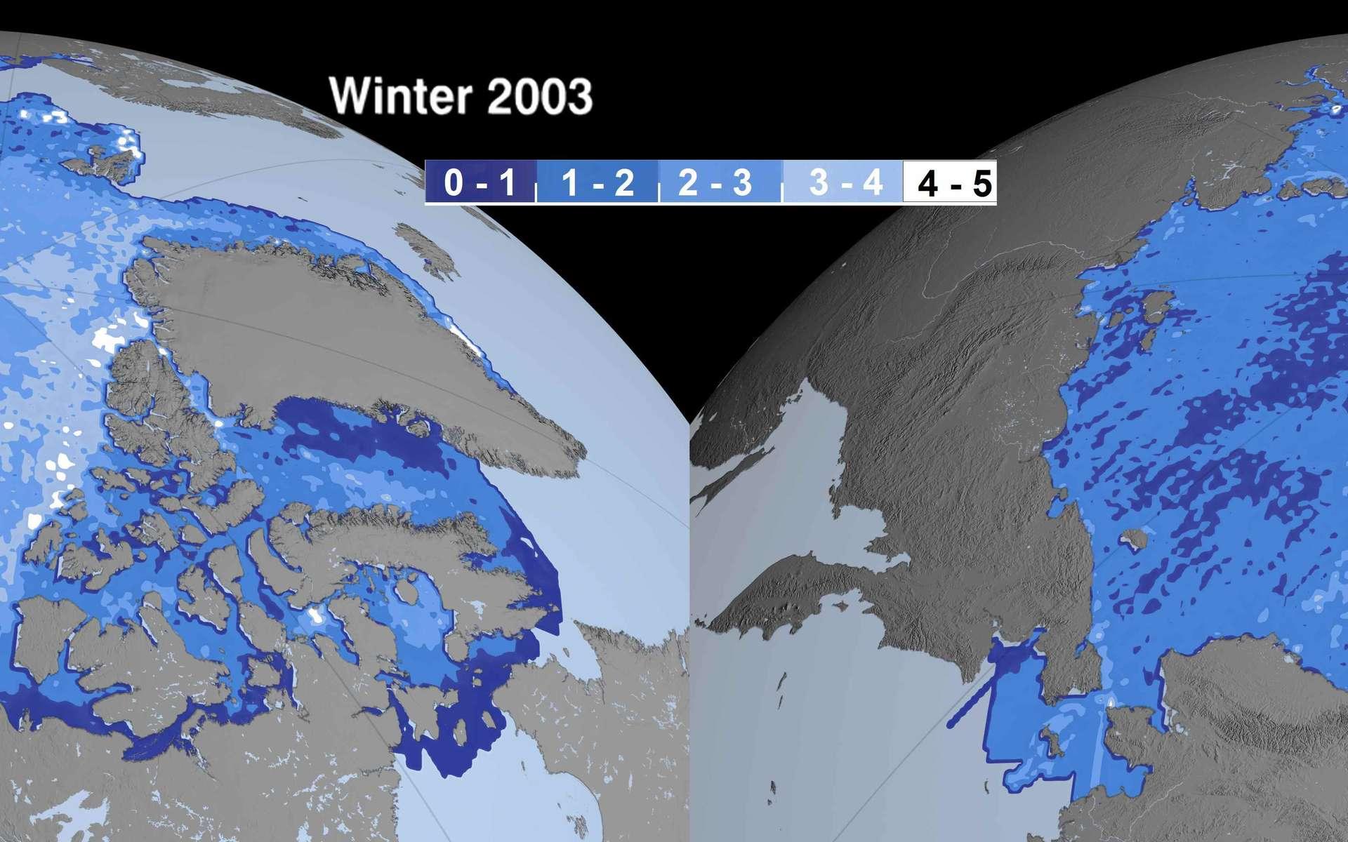 Comparaison des épaisseurs de la banquise en hiver, en 2003 et en 2008. La couleur indique l'épaisseur, de bleu foncé pour 0 à 1 mètre jusqu'à blanc, pour plus de 4 mètres. On voit clairement apparaître en 2008 des zones de moins d'un mètre au centre de la banquise arctique. © Nasa/JPL (montage Futura-Sciences)