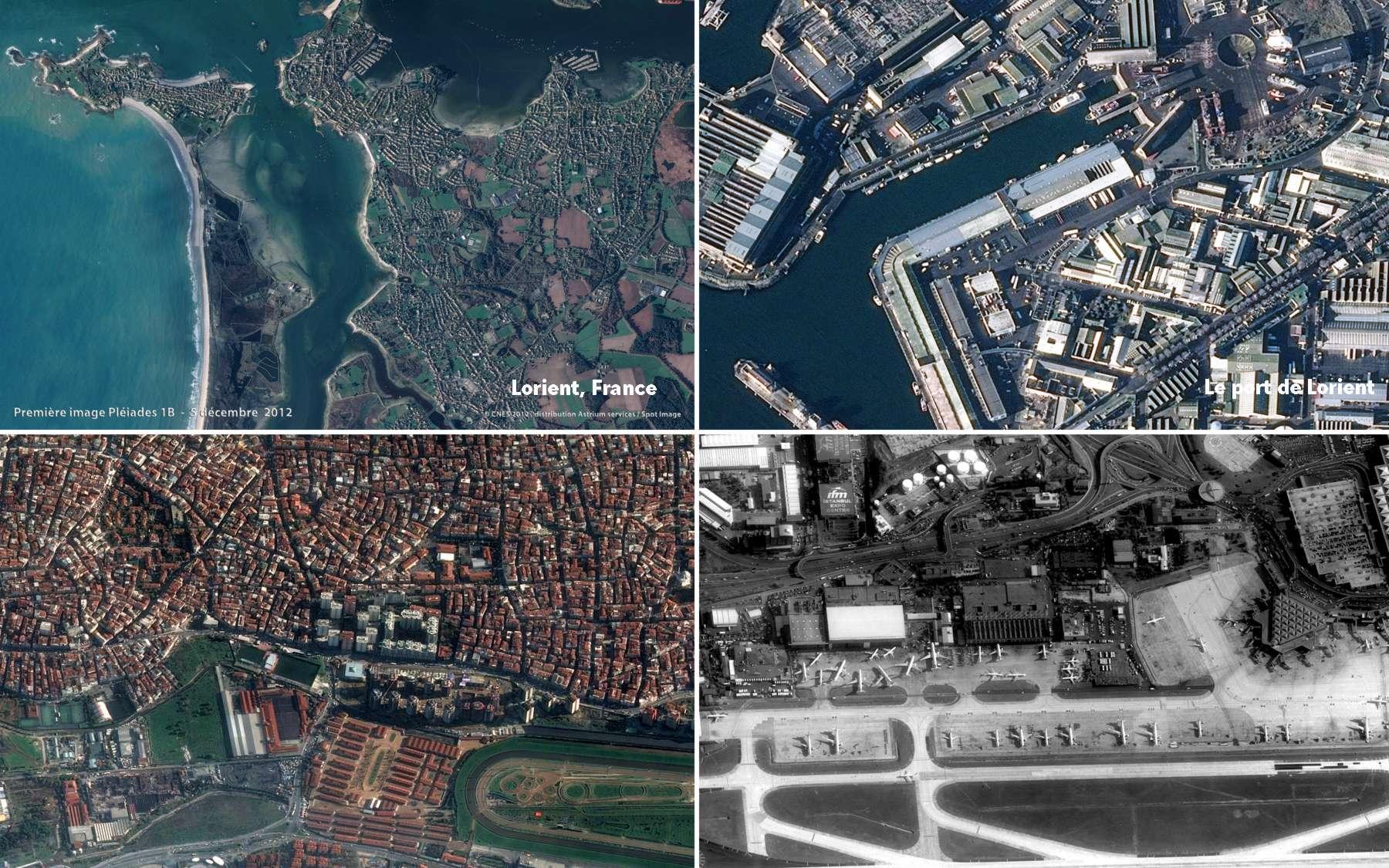 Après le jardin parisien des Tuileries et la mosquée de Casablanca au Maroc comme cibles des premières images de Pléiades 1A, c'est Lorient, Istanbul et Madrid qui ont été choises comme cibles pour montrer le bon fonctionnement du satellite Pléiades 1B. On voit ici le port de Lorient et un détail des pistes de l'aéroport d'Istanbul. © Cnes