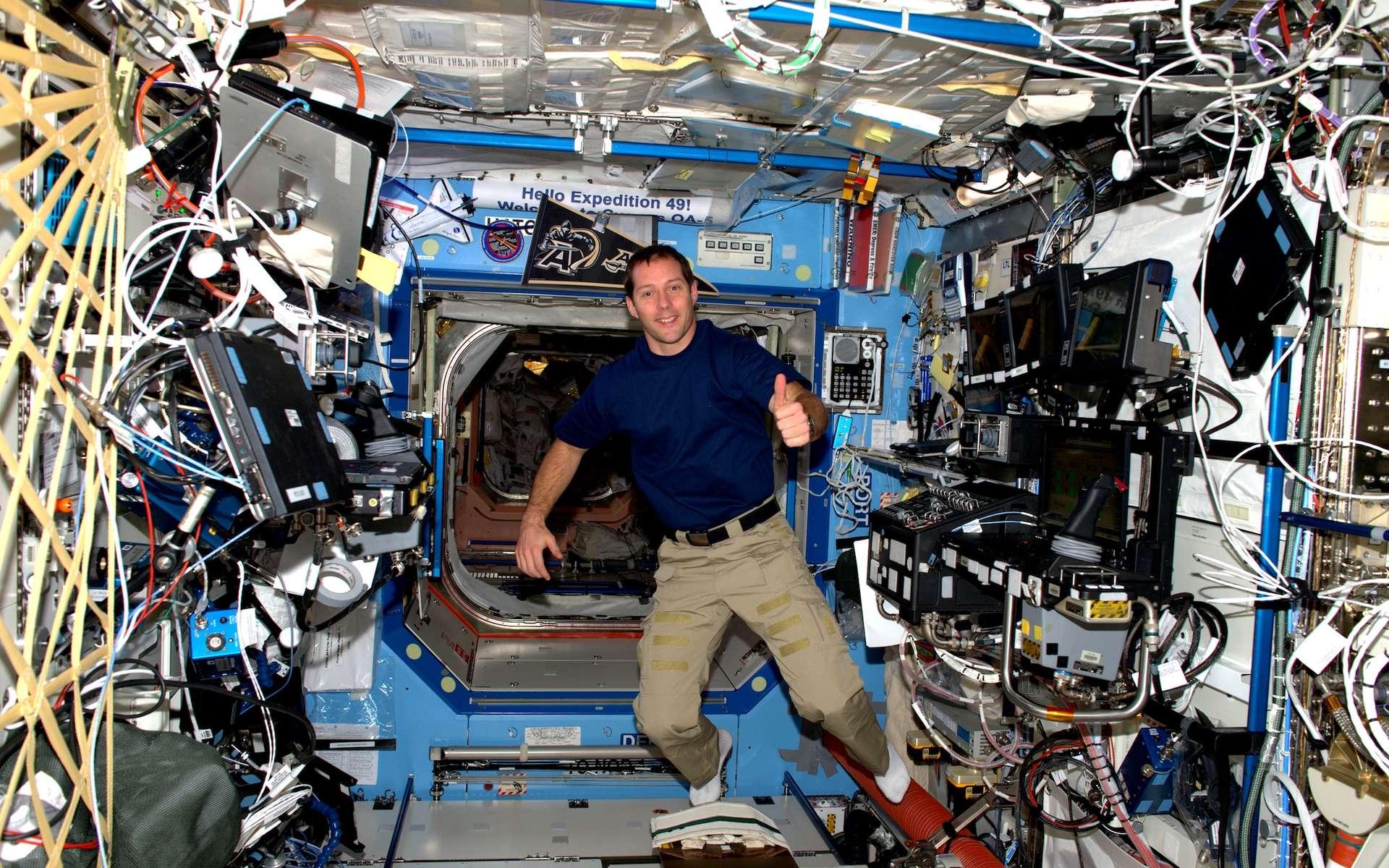 Thomas Pesquet à bord de la Station spatiale internationale. © Cnes