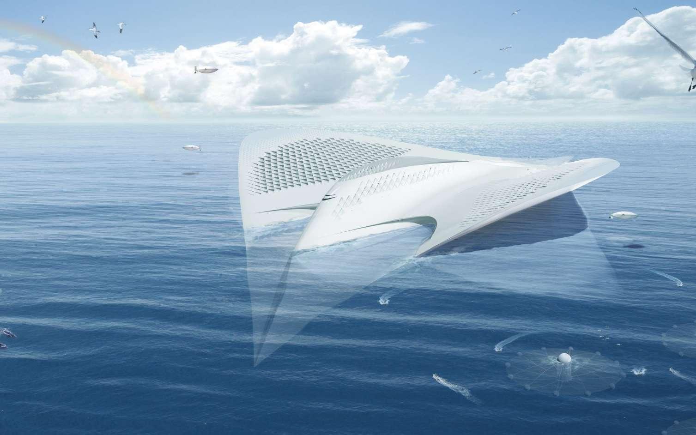 La cité des Merriens (ou des Mériens) serait une université flottante. Elle n'appartiendrait ni à un groupe privé ni à un pays. Elle serait internationale et ouverte à tous. L'océanographie s'y pratiquerait sur la mer, une présence permanente qui permettrait d'autres approches des sciences maritimes. © Jacques Rougerie