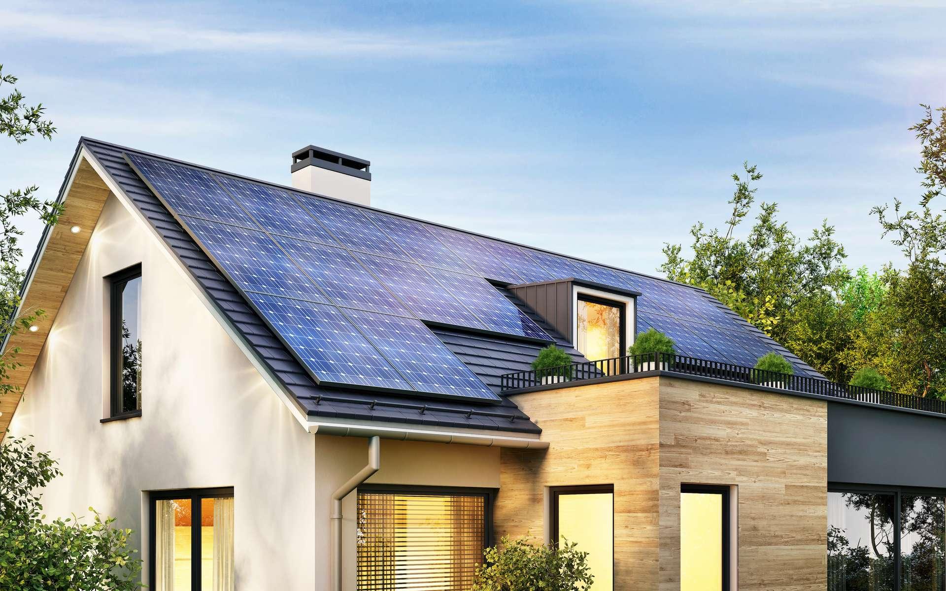 Autoproduire de l'électricité grâce à l'énergie solaire permet de réduire sa consommation d'électricité. Associé à une pompe à chaleur air/eau et un chauffe-eau thermodynamique, la solution globale et évolutive « Ma maison hybride » d'Airwell, rend la maison énergétiquement plus autonome. © slavun, Adobe Stock