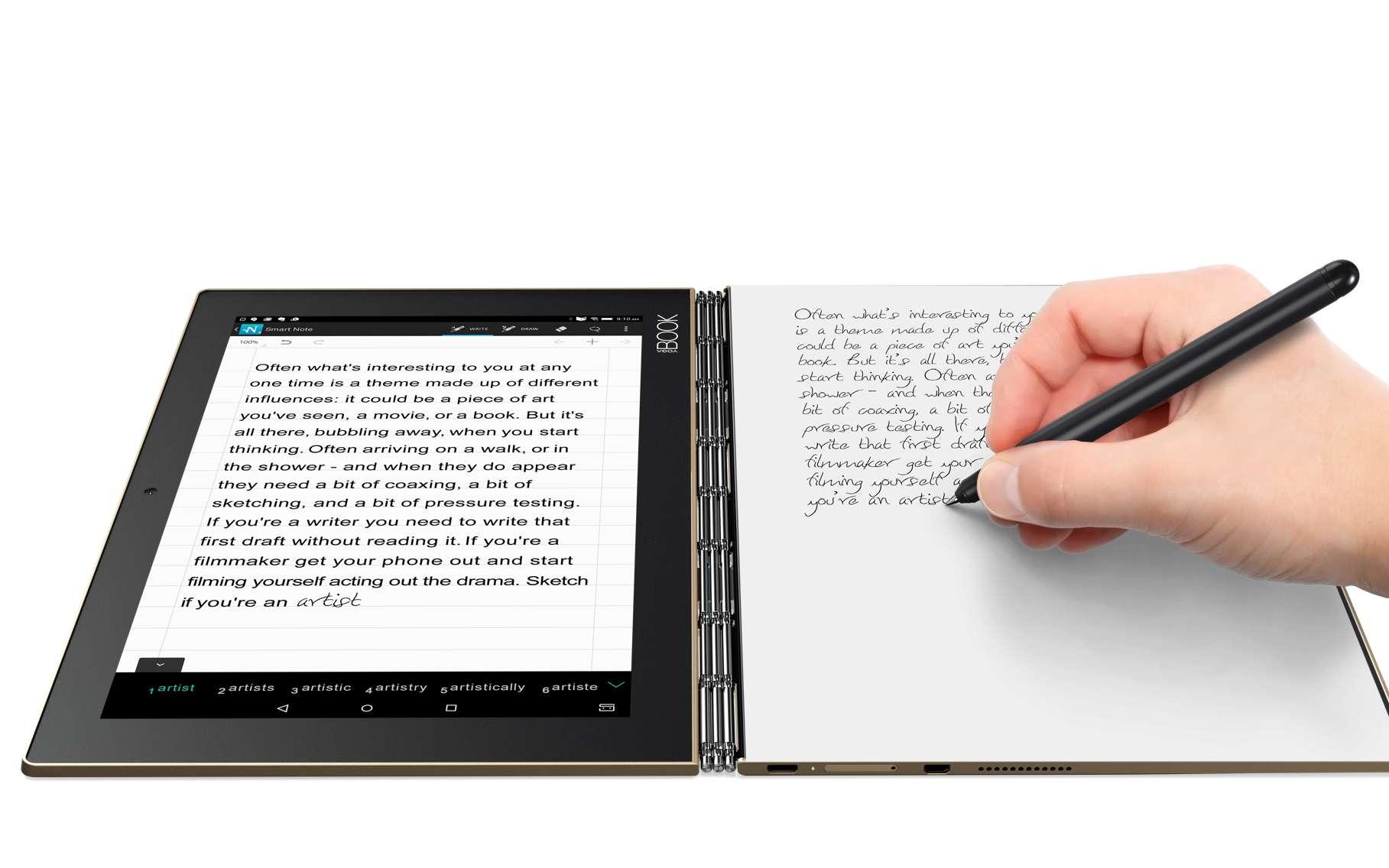 La tablette Yoga Book est pensée comme un outil de travail, avec son clavier virtuel et son stylet, mais aussi comme une tablette de loisir avec un écran tactile 10,1 pouces et un système son Dolby Atmos. © Lenovo