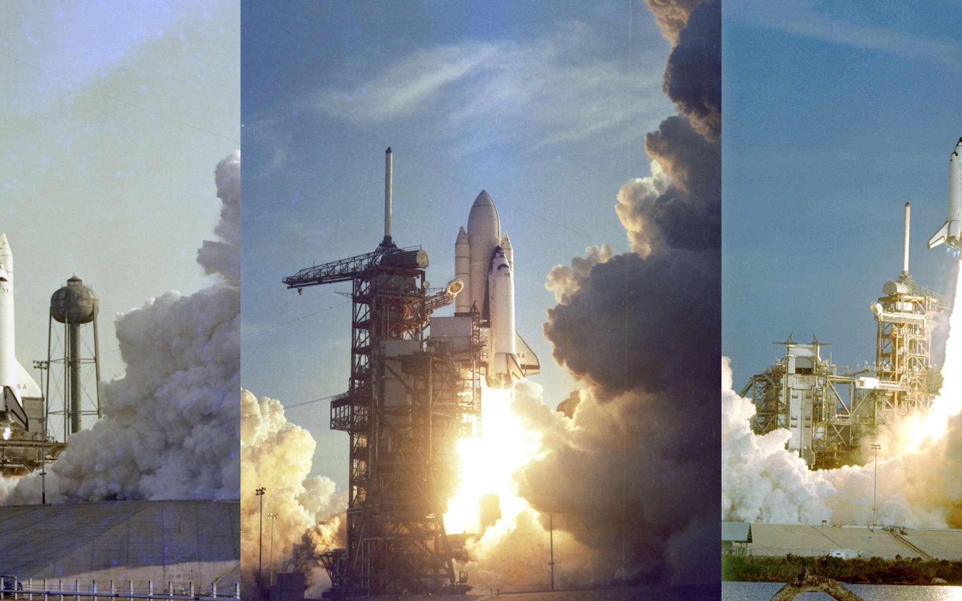 Initialement prévu le 10 avril 1981, le lancement de la première navette fut reporté de deux jours et coïncida avec le trentième anniversaire du vol de Youri Gagarine, le premier Homme dans l'espace. La mission se déroulera sans incident. Deux jours plus tard, le 14, la navette Columbia atterrissait sur la base du Centre de recherche en vol, le centre Dryden. © Nasa