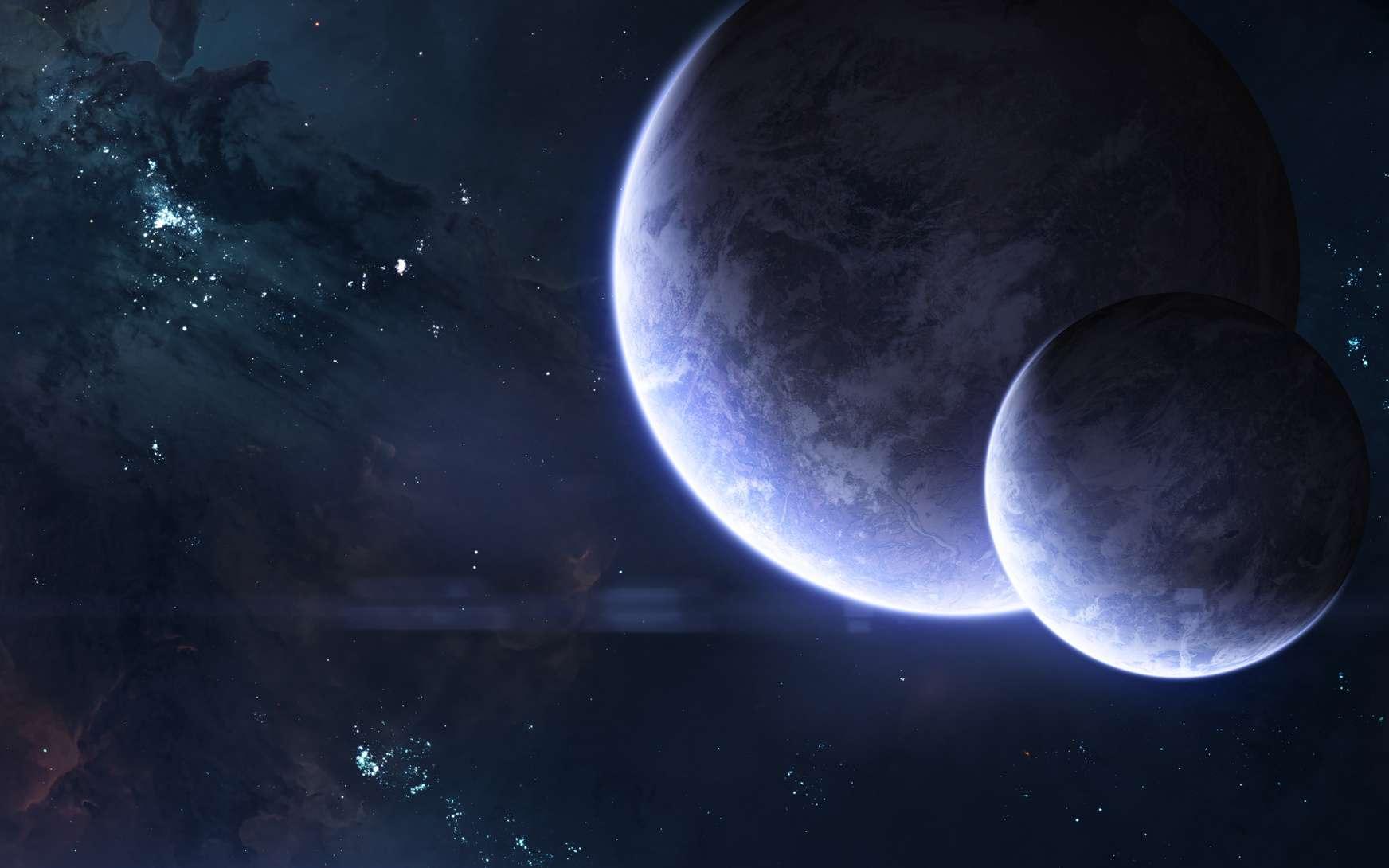 Illustration de deux exoplanètes. © Aaron Alien, fotolia
