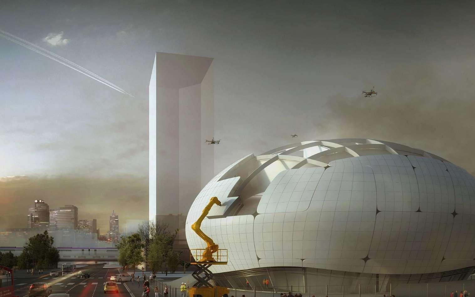 Un rendu du futur musée de la robotique de Séoul qui sera en partie construit par des robots. © Ediz Akyalçın, Melike Altinisik Architects