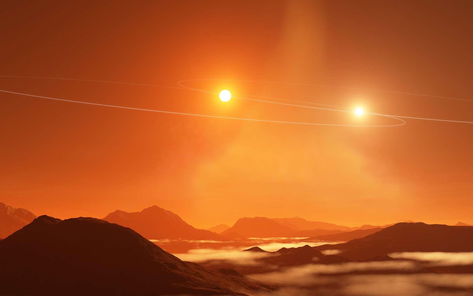 Une vue d'artiste d'un double coucher de soleil sur une exoplanète de type Tatooine se formant dans un disque circumbinaire mal aligné avec les orbites de ses étoiles. © NRAO/AUI/NSF, S. Dagnello