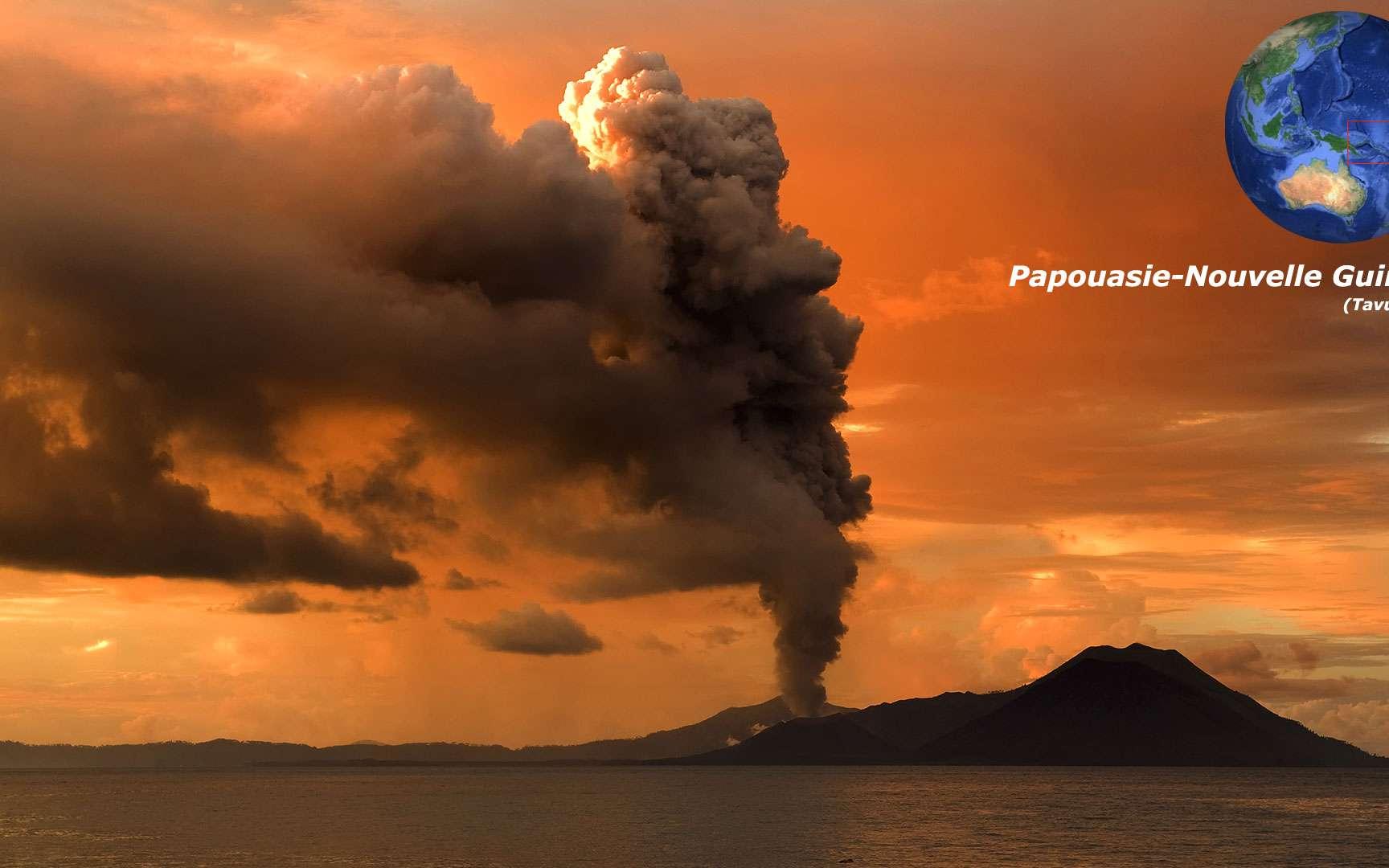 Le Mont Tavurvur, en Papouasie-Nouvelle-Guinée. Le Mont Tavurvur est un volcan situé dans la baie de Rabaul, en Papouasie-Nouvelle-Guinée. Récemment, il est entré en éruption en 2014. Cette éruption a projeté de nombreuses cendres dans les environs. Les éruptions précédentes dataient de 1937, 1941, 1943 et 1994-1995. L'éruption de 1994-1995 a conduit à l'évacuation et la destruction de la ville de Rabaul, qui a perdu son statut de capitale depuis cette date. © Taro Taylor, CC by 2.0
