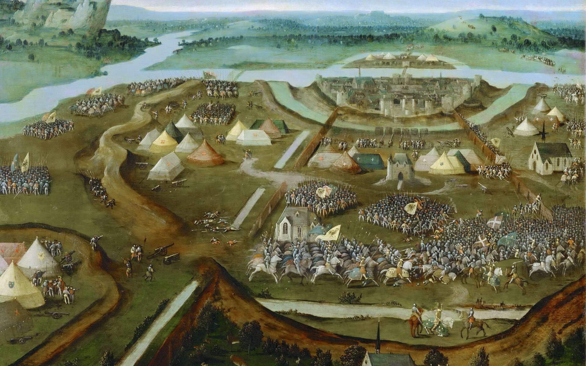 La bataille de Marignan fait partie des guerres d'Italie. Ici, celle de Pavie, illustrée par une peinture de Joachim Patinir. © Musée de l'Histoire de l'Art, Vienne, Autriche. Wikimedia Commons, domaine public