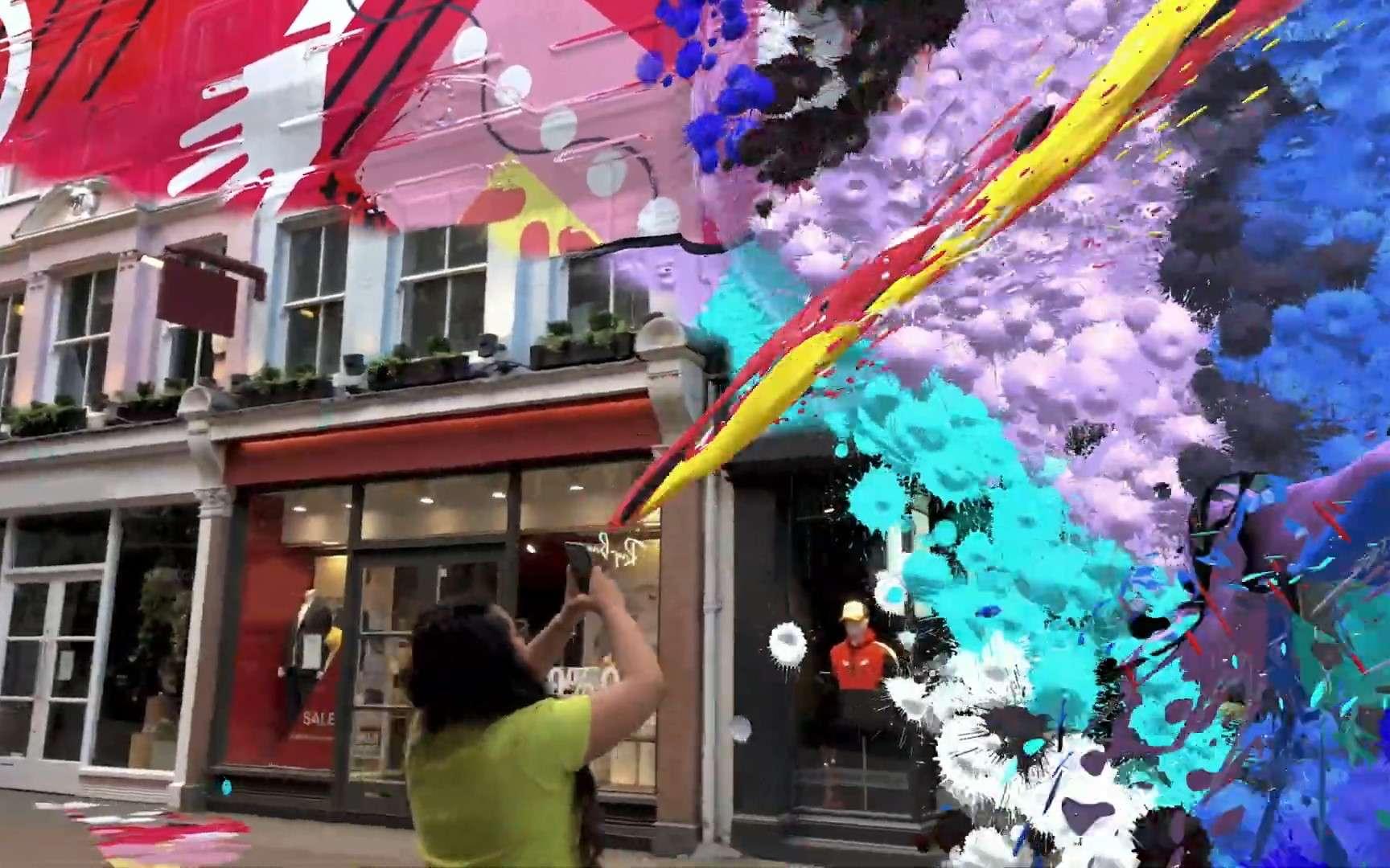 City Painter, la première des « Local Lenses » de Snapchat, permet de repeindre les rues. © Snap