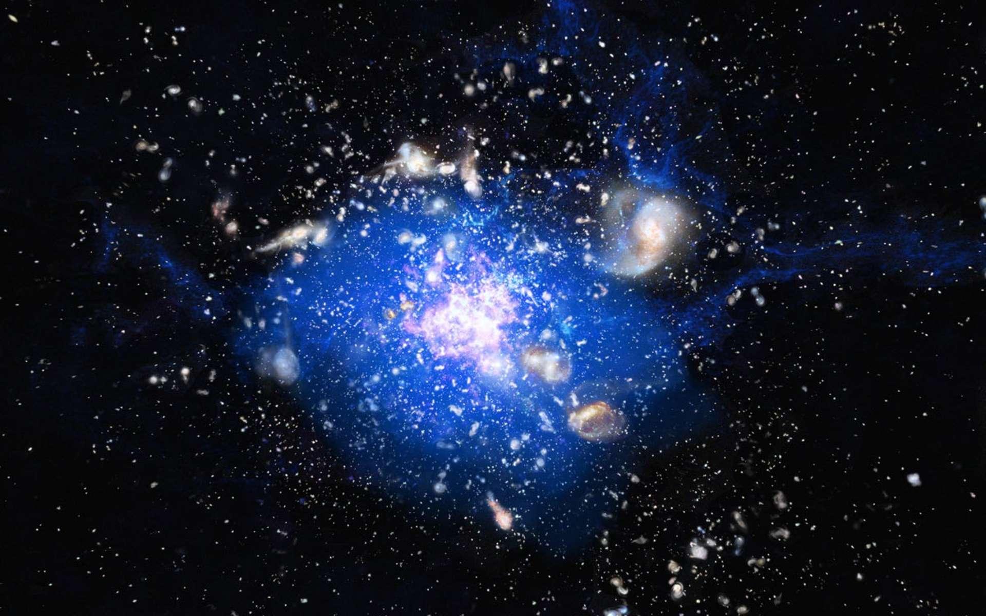Vue d'artiste du nuage de gaz froid autour de la galaxie Toile d'Araignée. En blanc et rose, on voit des galaxies en train de naître et en bleu le gaz contenant du monoxyde de carbone (CO). © ESO, M Kornmesser