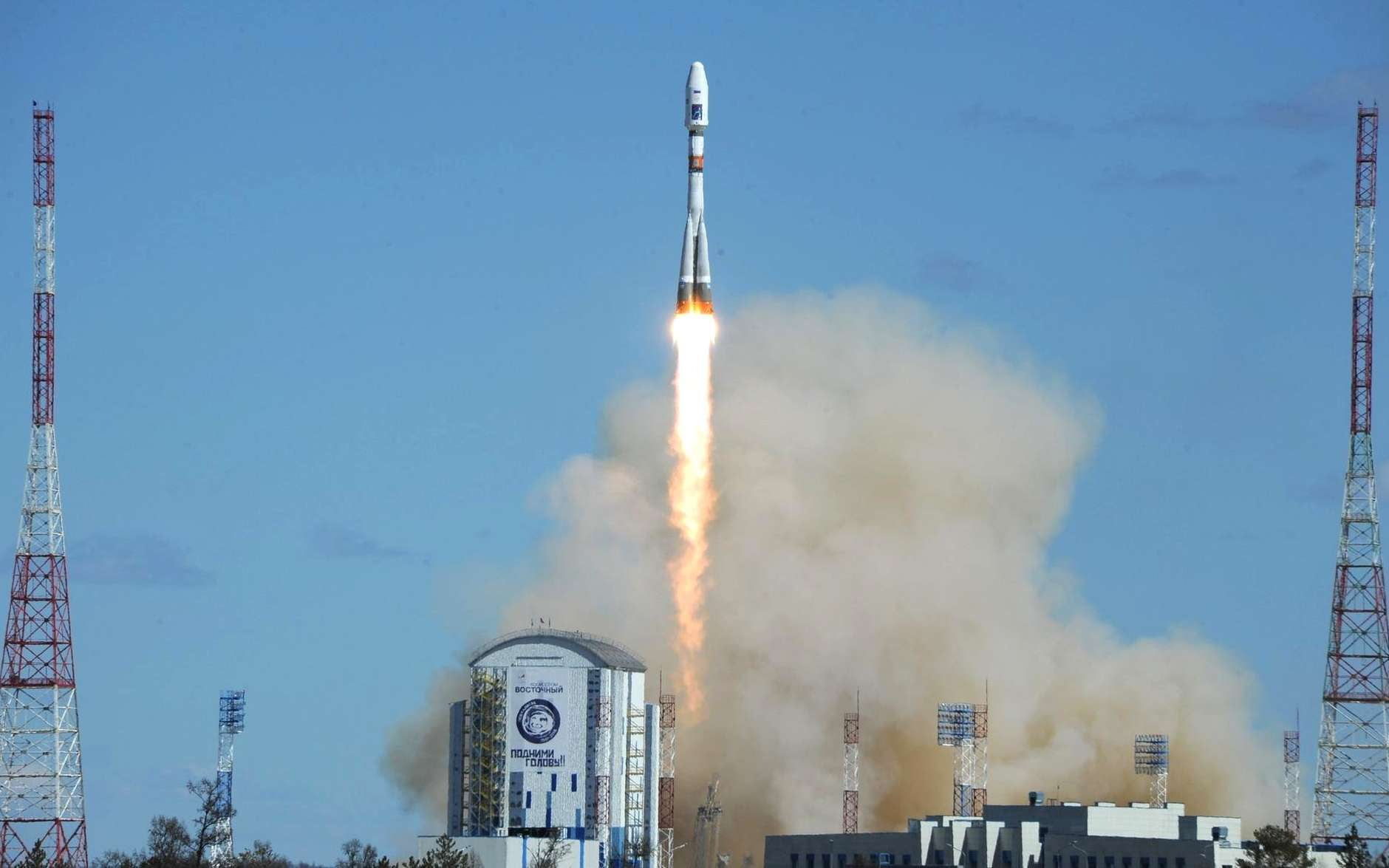 Le premier tir depuis le nouveau cosmodrome de Vostotchniy a été effectué ce jeudi 28 avril. Un lanceur Soyouz a décollé du seul pas de tir en service. Un deuxième site de lancement, dédié aux lanceurs de la famille Angara est prévu. Sa construction débutera dans le courant de l'année 2017. © Cabinet du président de la Russie