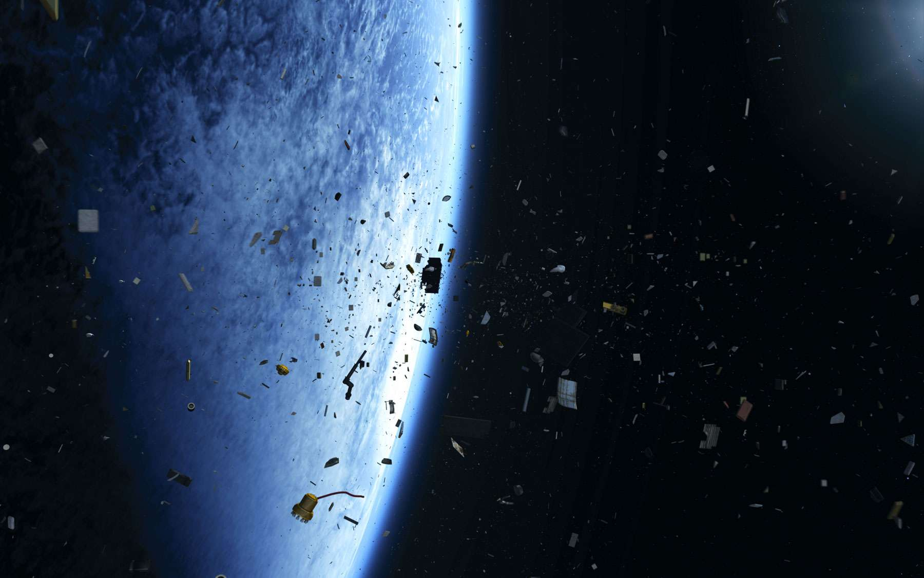 Représentation artistique de débris en orbite terrestre. © ESA