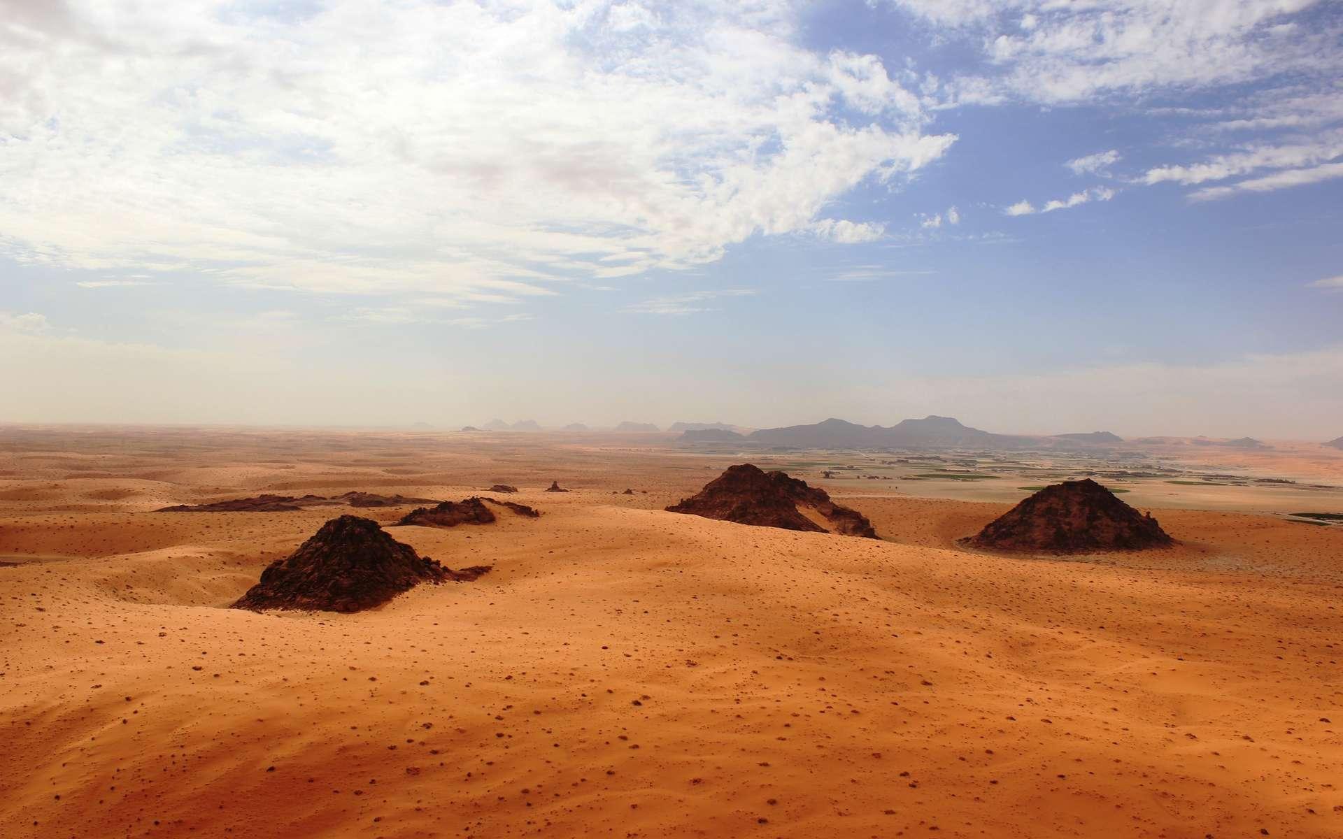 Le désert d'Arabie saoudite est de plus en plus étudié car il se situe au carrefour d'anciennes migrations humaines entre l'Afrique et l'Asie. © Palaeodeserts Project