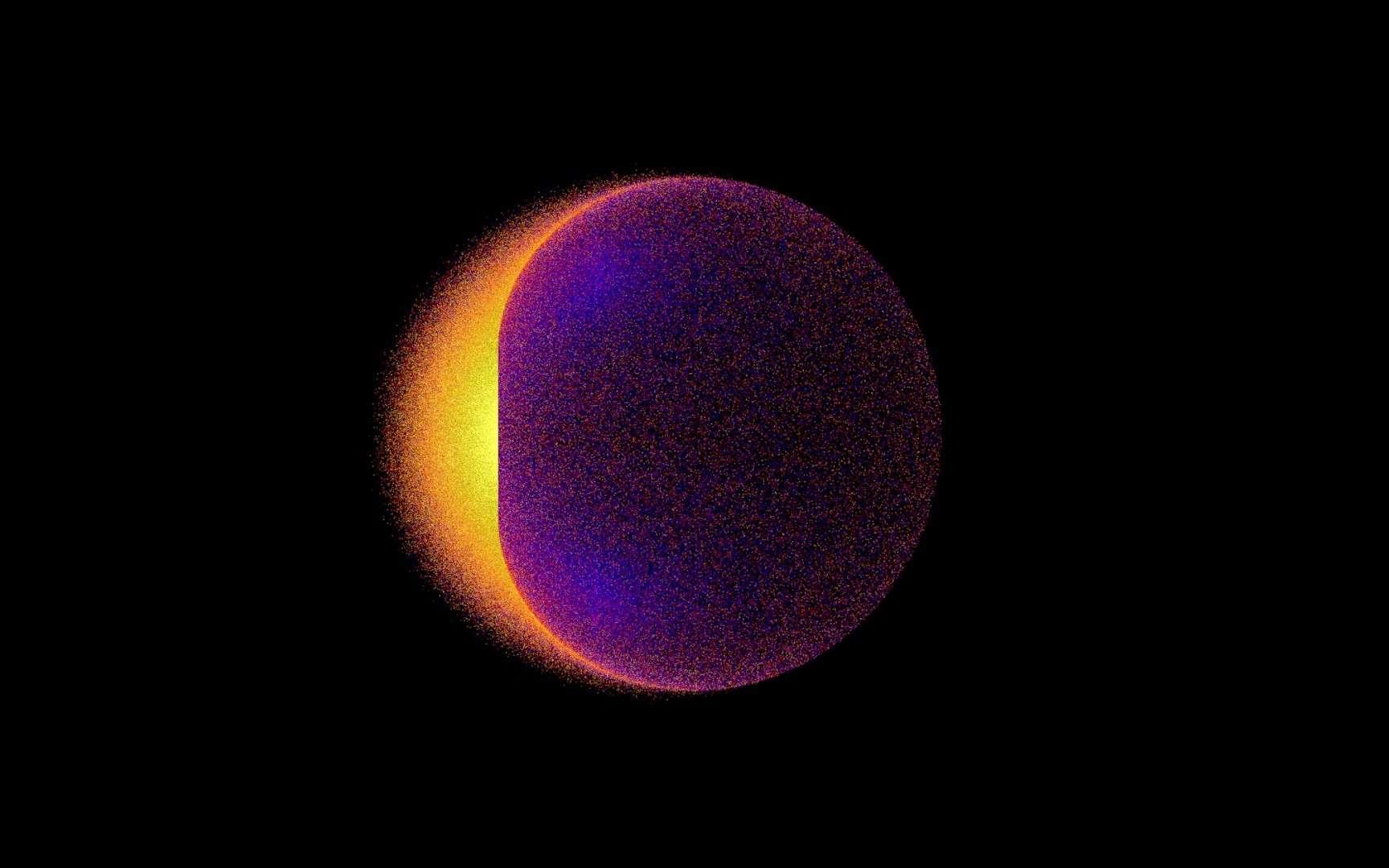 Dans l'ergosphère d'un trou noir en rotation, les particules de matière noire se désintégrant par collision peuvent donner des photons gamma dont les énergies sont amplifiées. Cette image, issue de calculs sur ordinateur, montre un tel trou noir rayonnant en gamma. L'émission la plus intense, sur la gauche, correspond à la région du trou noir en rotation dans la direction de l'observateur. © Nasa, Goddard Jeremy Schnittman