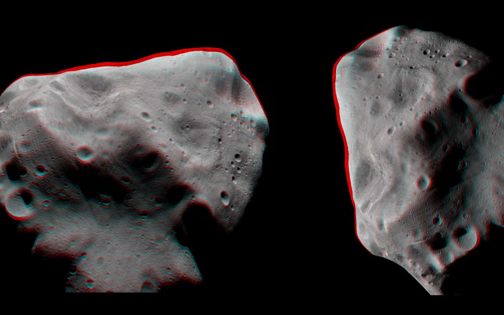 Un anaglyphe (nécessitant des lunettes spéciales) montrant l'astéroïde Lutetia en relief. Ce type d'image permet de se rendre compte de la profondeur des cratères et des nombreuses concavités qui le façonnent. Crédits Esa 2010 / MPS for OSIRIS Team MPS/UPD/LAM/IAA/RSSD/INTA/UPM/DASP/IDA