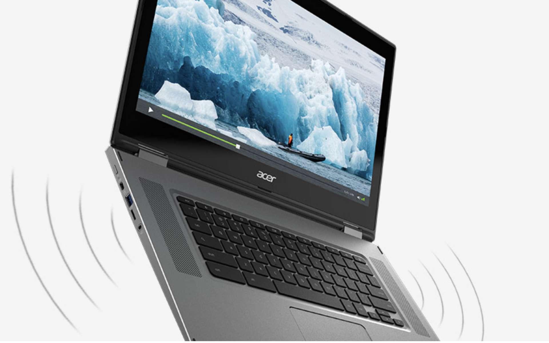 Des haut-parleurs placés sur la partie supérieure de l'Acer Chromebook Spin 15 assurent un des meilleurs sons. © Acer