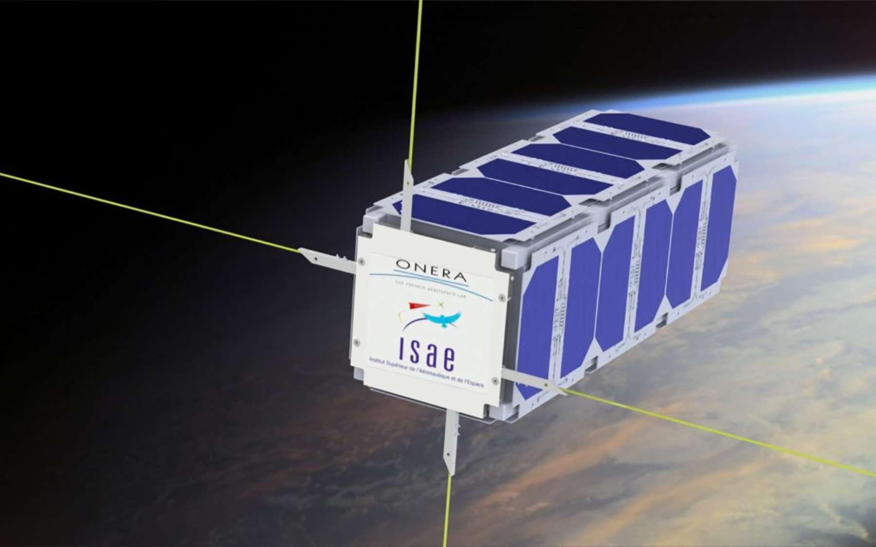 Vue d'artiste d'EntrySat. Ce Cubesat de 3 unités sera utilisé comme débris spatial pour étudier et mieux comprendre la rentrée atmosphérique des débris. © Isae-Supaero