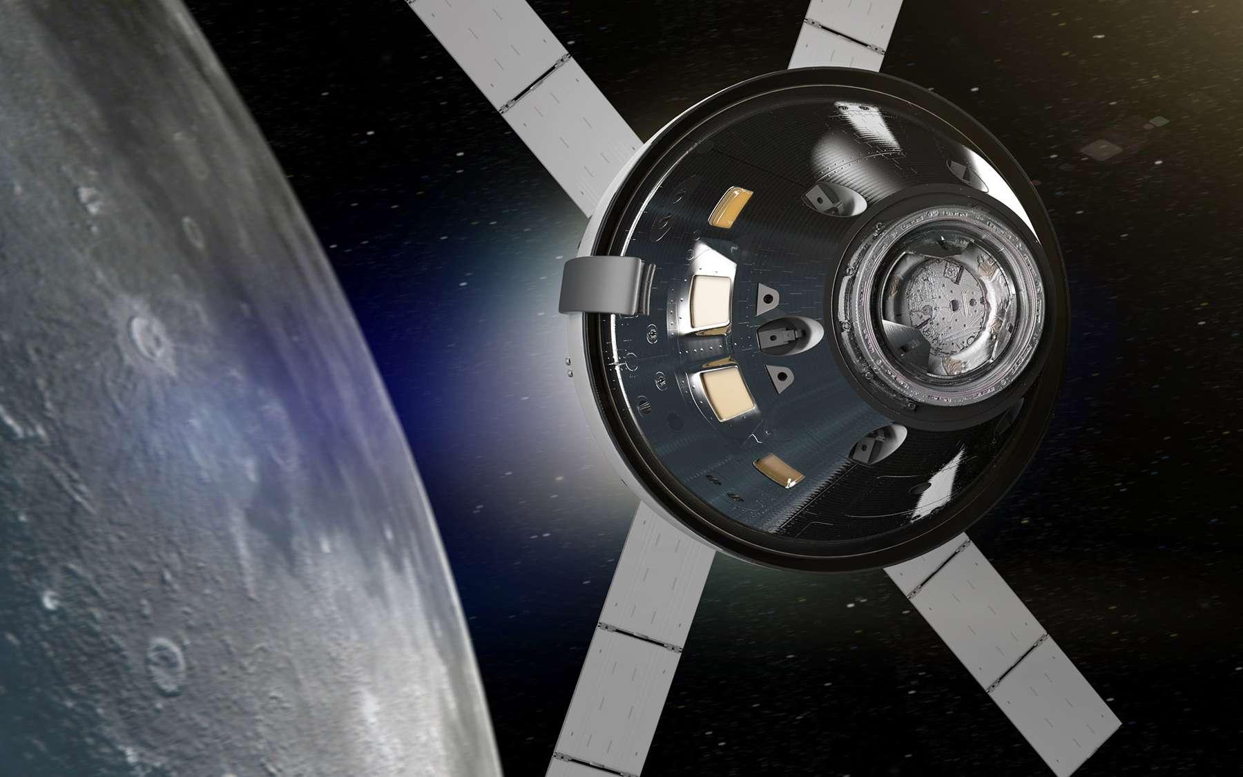 Le véhicule Orion autour de la Lune. © Nasa