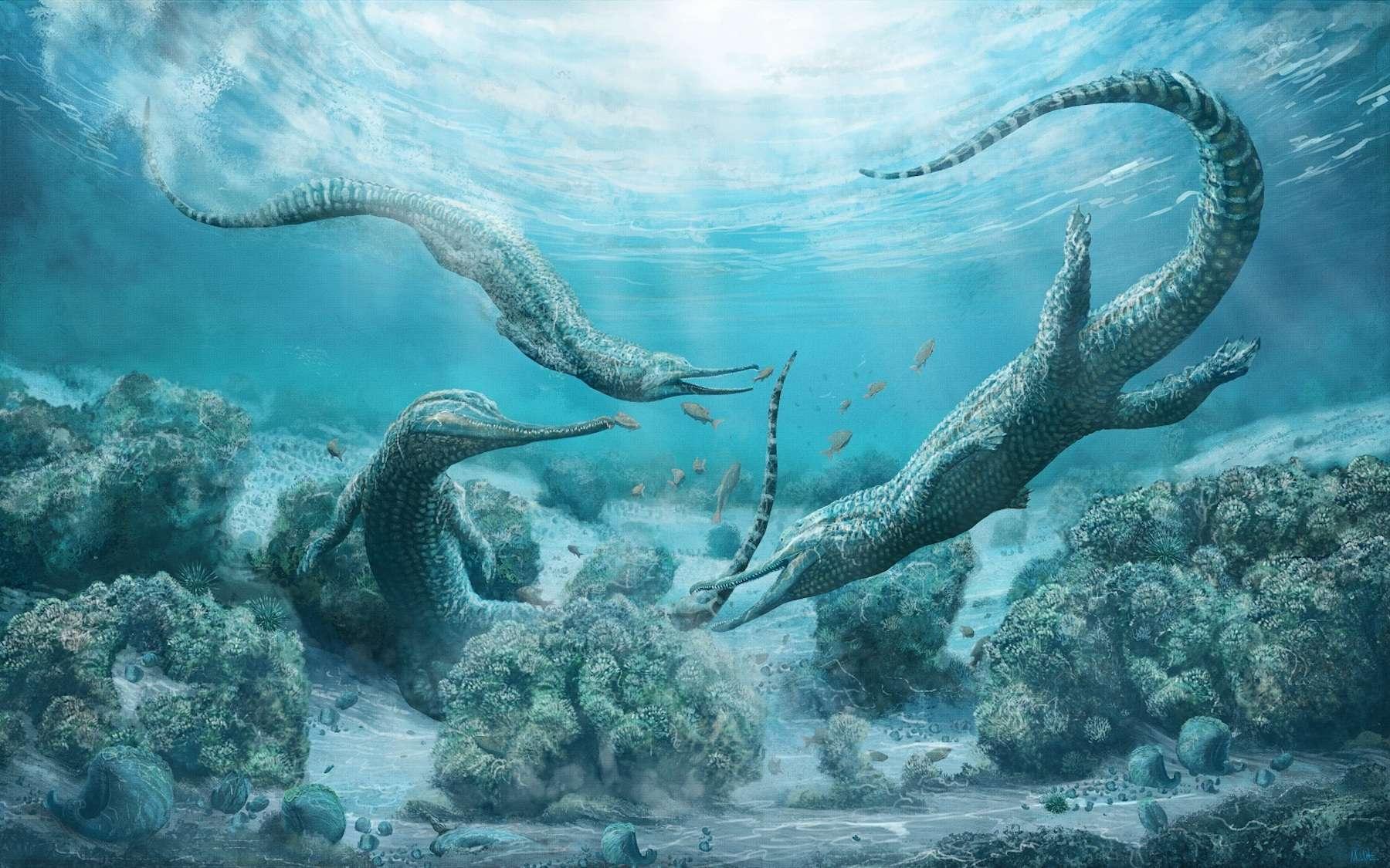 Malgré leur ressemblance avec les crocodiles, les phytosaures n'en sont que de lointains cousins. © Mark Witton