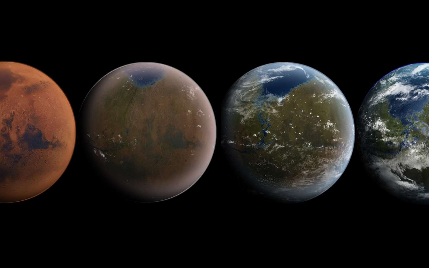 Illustration de Mars terraformée. © Wikimedia, CC by-sa 3.0