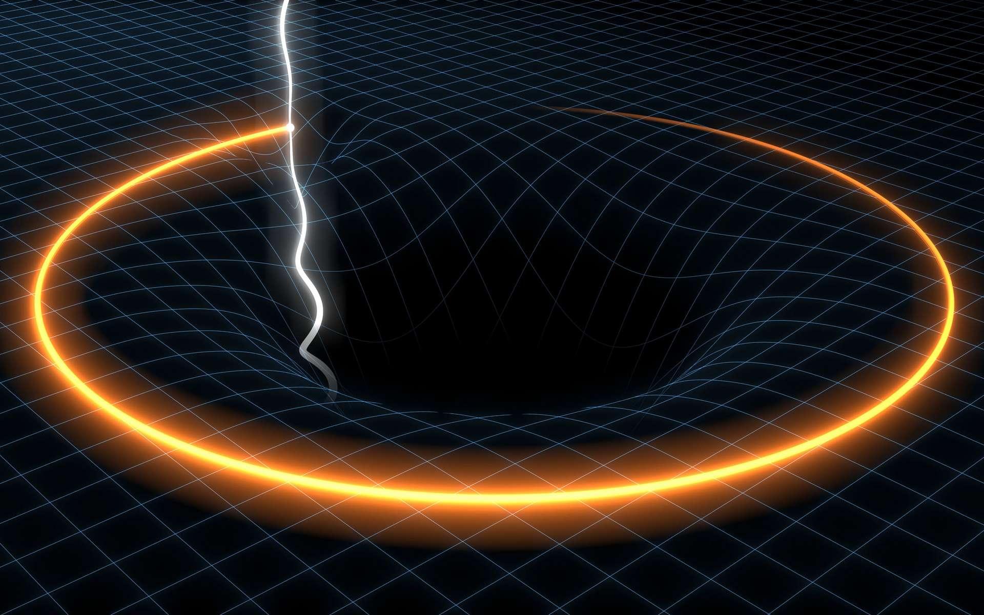Une vue d'artiste d'une étoile à neutrons, un pulsar même, en orbite autour d'un trou noir de grande masse. © SKA Organisation-Swinburne Astronomy Productions