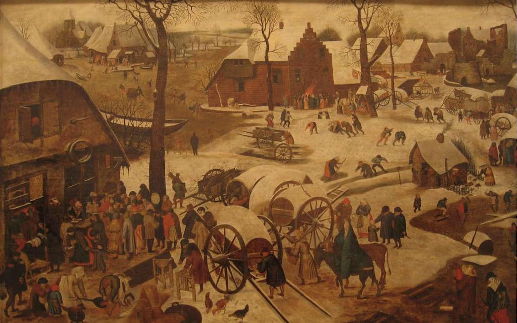 Les impôts au Moyen Âge se paient d'abord sous forme de corvées. Le paiement de la dîme d'après Brueghel l'Ancien. © Fabos, Wikimedia Commons, domaine public