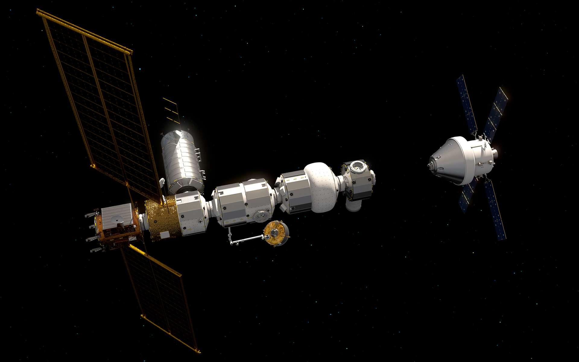 Le Gateway, avec le module Heracles de l'ESA et le véhicule Orion. © ESA, ATG Medialab