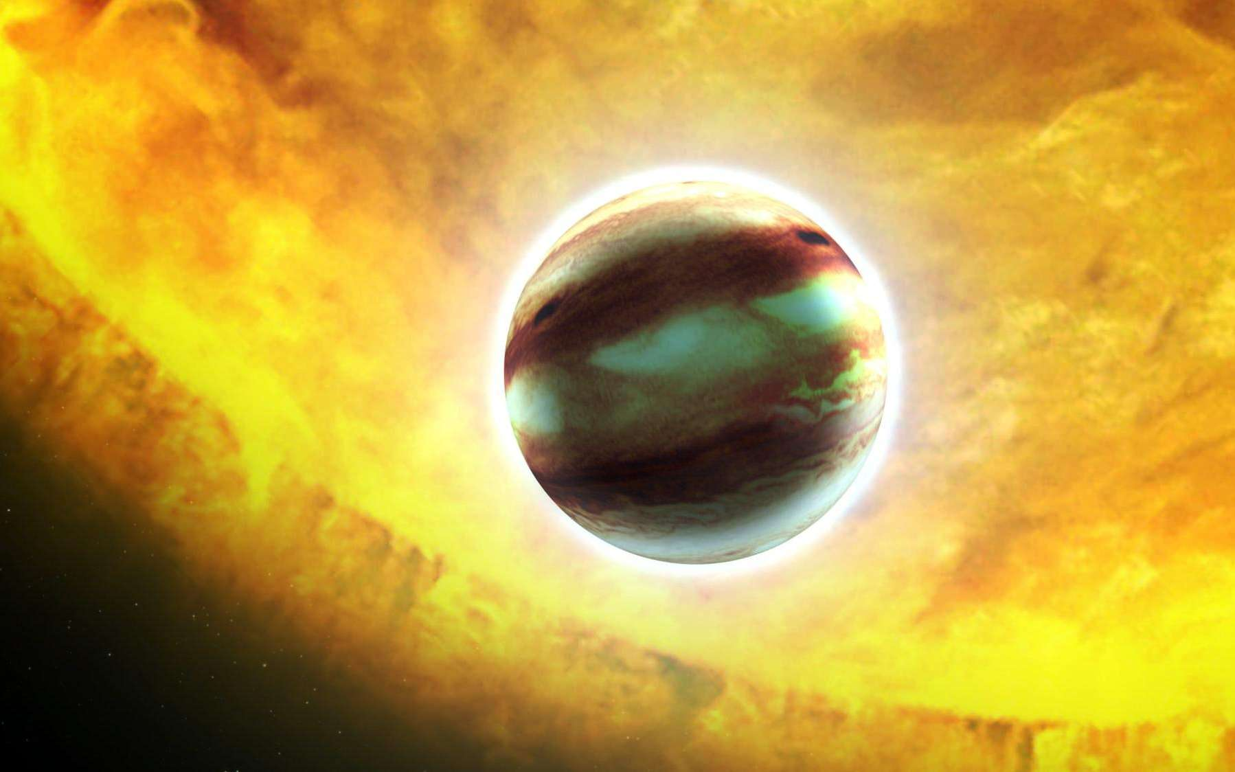 Une vue d'artiste du transit de l'exoplanète HAT-P-7b située à environ 1.044 années-lumière de la Terre. Son diamètre est estimé à 1,4 fois celui de Jupiter. © Nasa, ESA, G. Bacon (STScI)