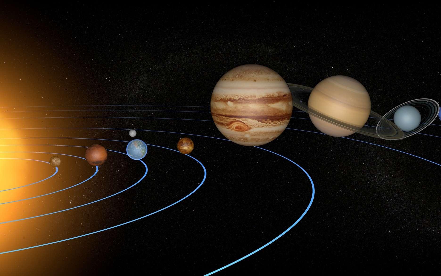 Le Système solaire englobe tous les objets célestes soumis à l'influence gravitationnelle du Soleil, et notamment, huit planètes. © Naeblys, fotolia