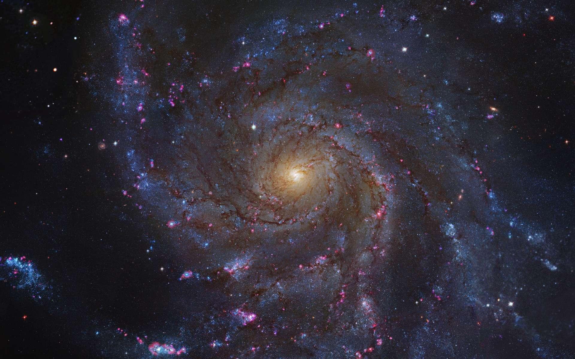 Cette photographie montre la galaxie spirale Messier M101, également appelée galaxie du Moulinet. C'est une galaxie spirale située dans la Grande Ourse et distante d'environ 22,8 millions d'années-lumière de la Voie lactée. Le diamètre de M101 est 70 % plus grand que celui de la Voie lactée. © Nasa