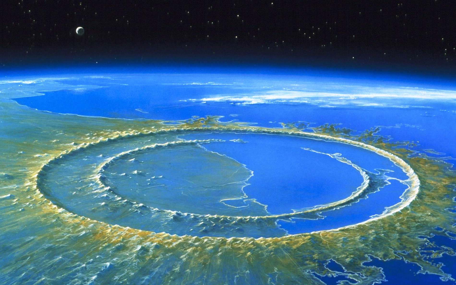 Une vue d'artiste du cratère d'impact de Chicxulub quelques milliers d'années après sa formation. © Detlev_van_Ravenswaay, Science