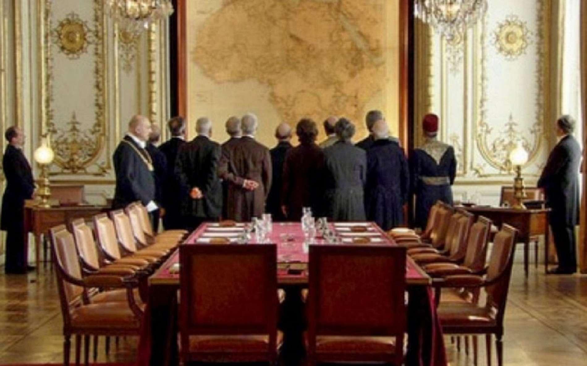 Conférence de Berlin, 1884-1885 ; document fiction ''Berlin 1885, la ruée sur l'Afrique''. © Libération.