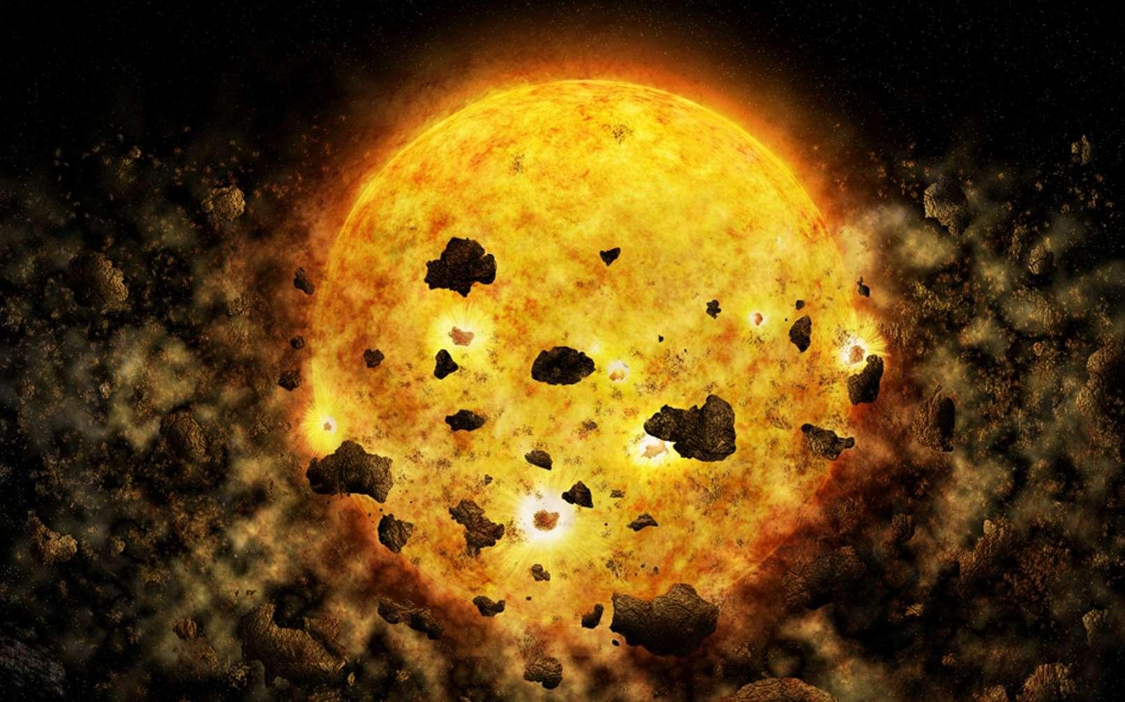 Une vue d'artiste très exagérée de la destruction de jeunes planètes rocheuses par une jeune étoile. © NASA, CXC, M.Weiss